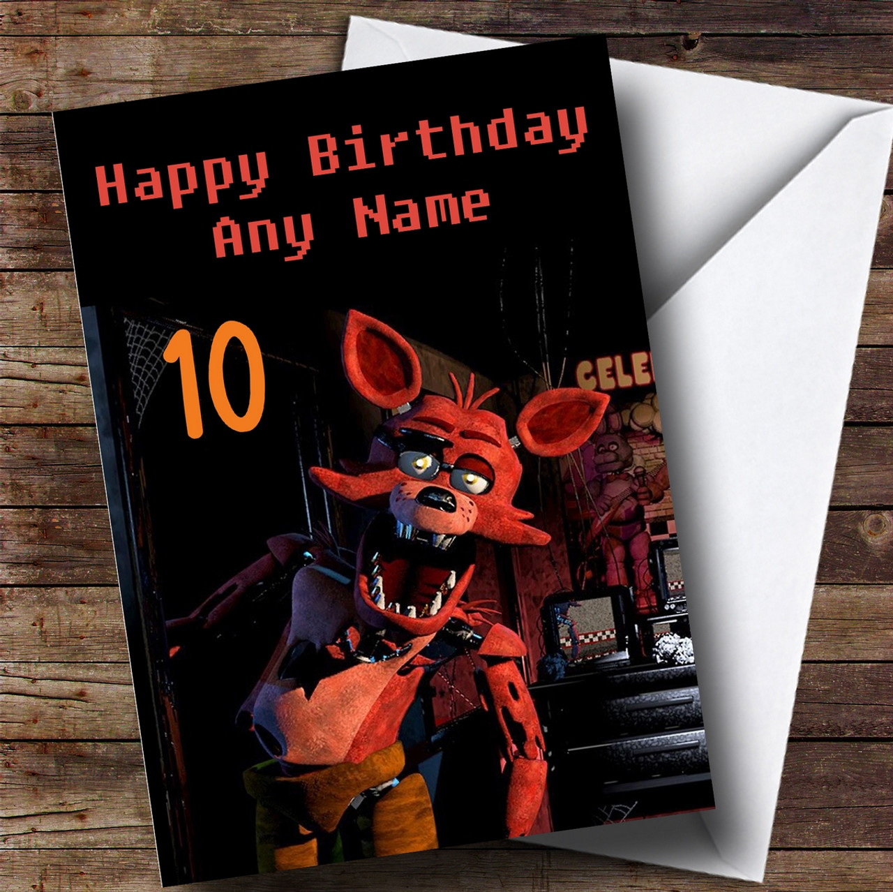 personalized fnaf five nights at freddy s foxy children s birthday card