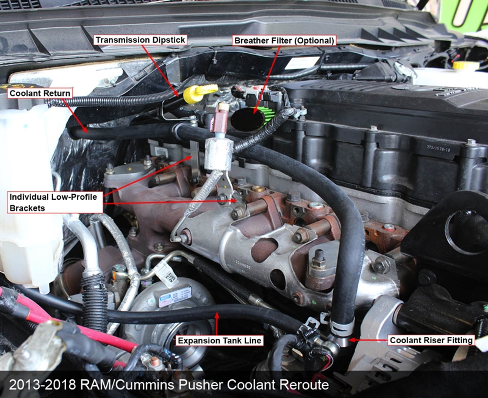 pusher coolant reroute kit for 2013 2018 ram 6 7l cummins trucks