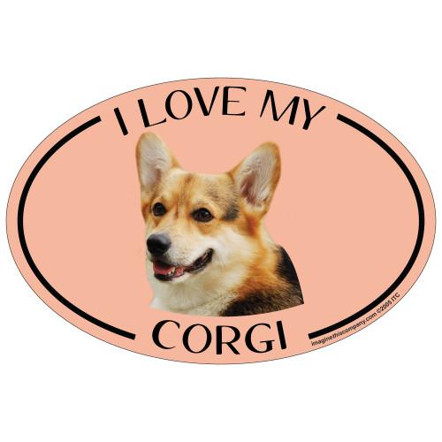 Download I Love My Corgi Colorful Oval Magnet