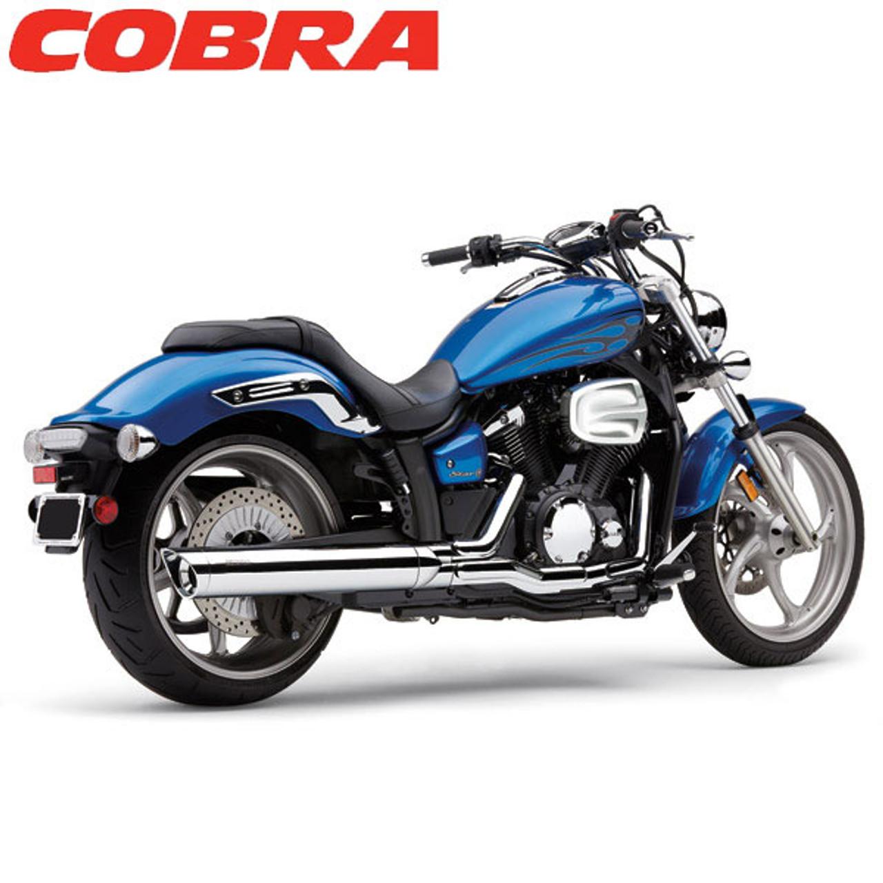 cobra yamaha v star 1300 07 15 4 slip on muffler with scalloped tips