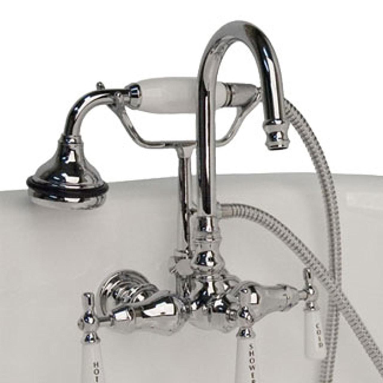 cambridge plumbing clawfoot tub brass wall mount faucet with hand held shower polished chrome brushed nickel or oil rubbed bronze
