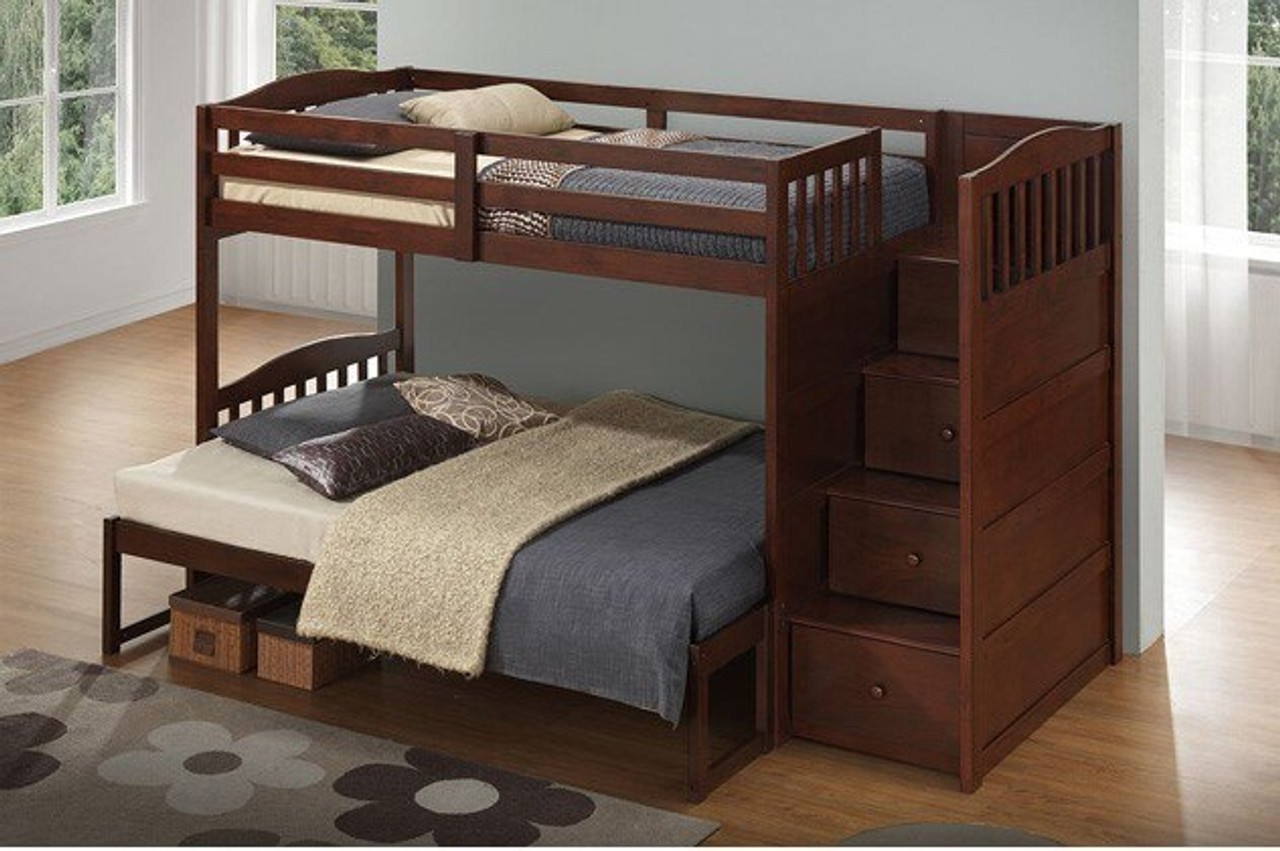 Gasley Twin Over Twin Bunk Bed W Right Facing Storage Steps Brown