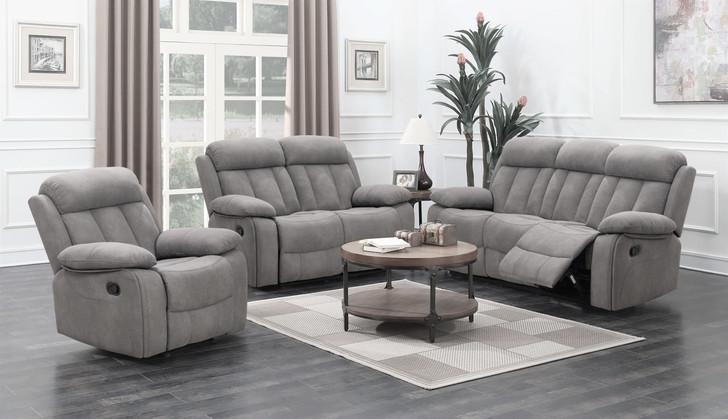 grey micro fabric recliner sofa set