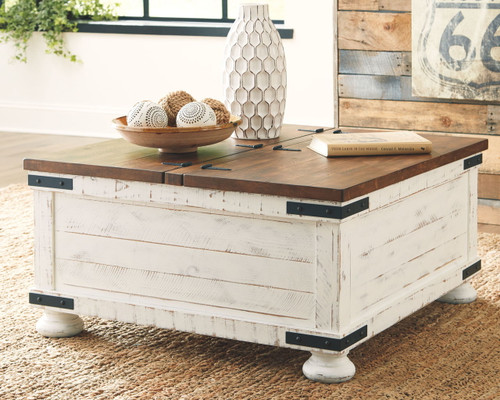 wystfield white brown cocktail table with storage