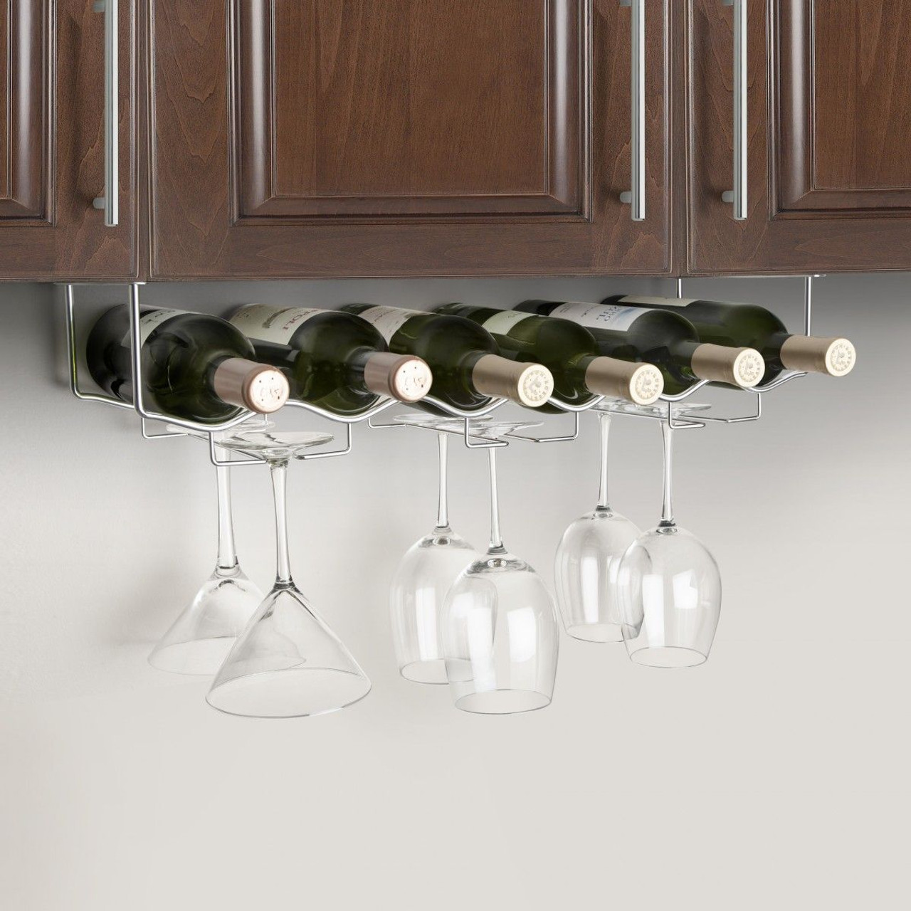 under cabinet 6 wine bottle 6 glass rack 3 channel stainless steel