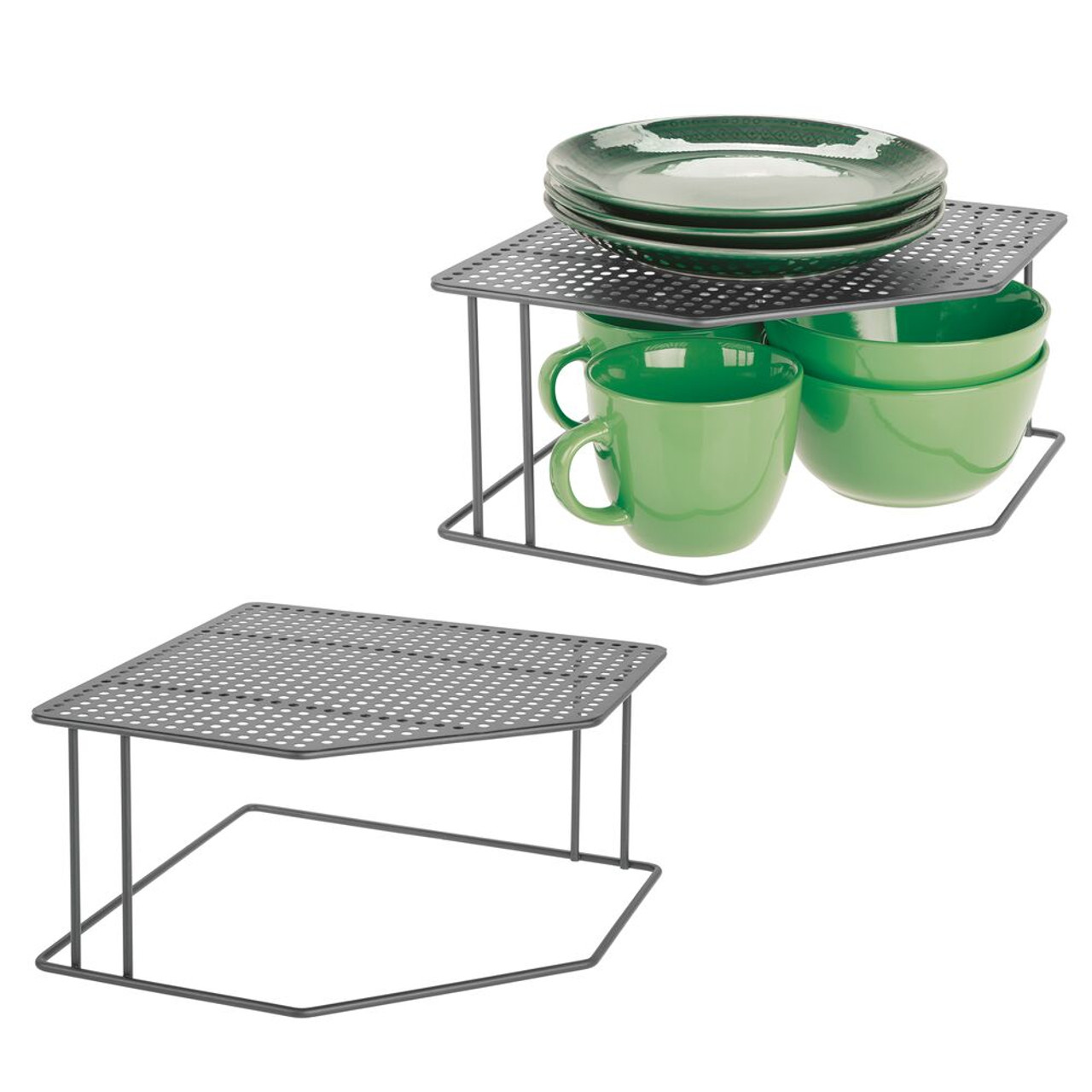 2 Tier Free Standing Kitchen Storage Shelf For Counter Tops And Cupboards Bronze Mdesign Corner Shelf Kitchen Accessories And More Store Crockery Dishes Expressipnetwork Hu