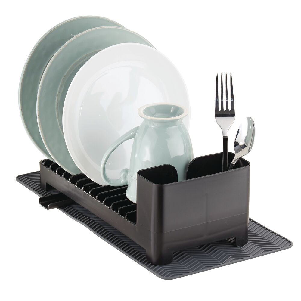mdesign kitchen dish drainer rack and drying mat set in black charcoal gray 12 5 x 5 5 x 4 by mdesign from mdesign daily mail