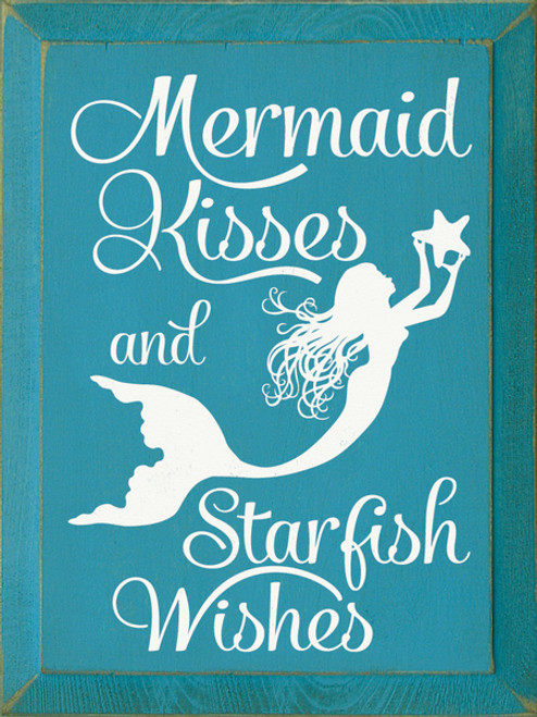 Wood Sign Mermaid Kisses Starfish Wishes 9x12 Country Marketplace