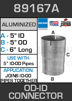 5 id id exhaust connector aluminized