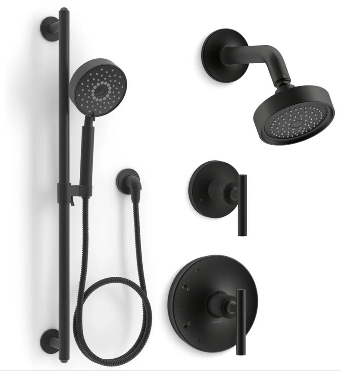 kohler purist pressure balanced shower system with shower head hand shower valve trim and shower arm