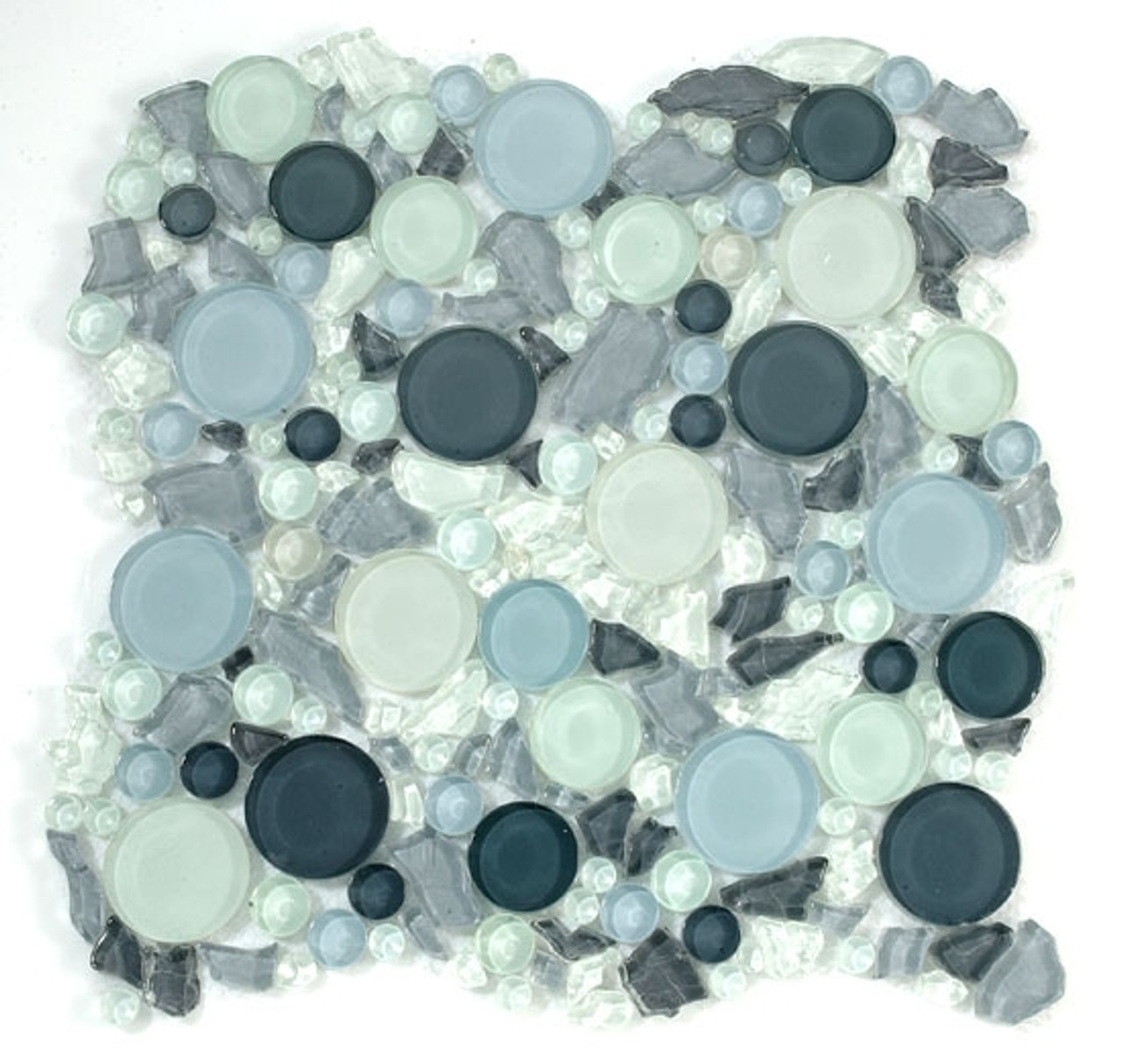 lagoon round bubble leaf shape glass mosaic tile lg805a dawn interlocking sheet