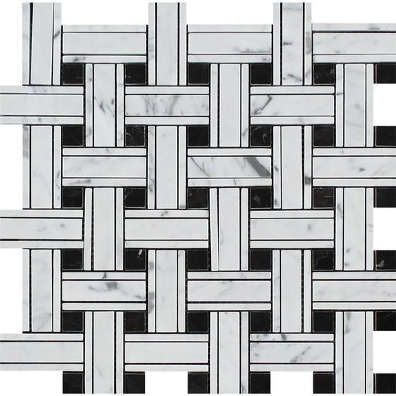 carrara white marble triple basket weave pattern mosaic tile black dot polished