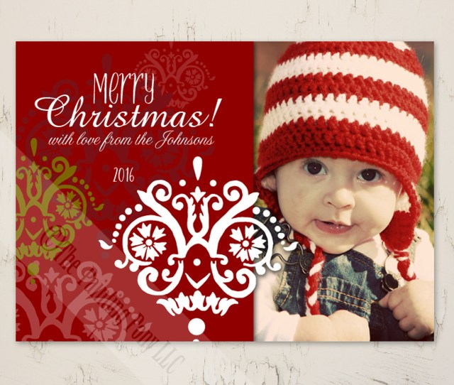 Personalized Damask Patterned Flat Photo Template Christmas Card