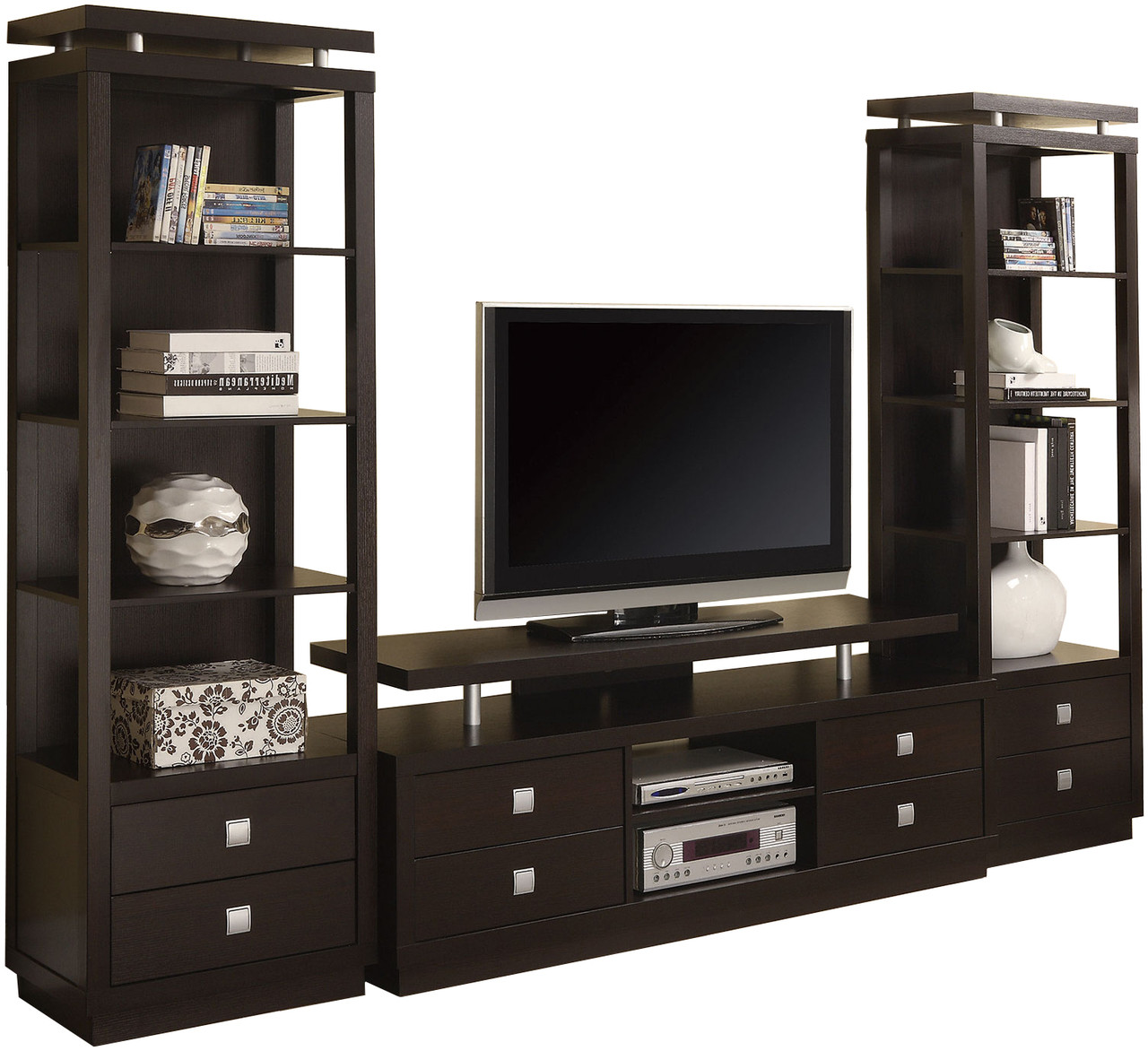 Kerri Cappuccino 3 Pc Wall Unit With Drawers Cb Furniture