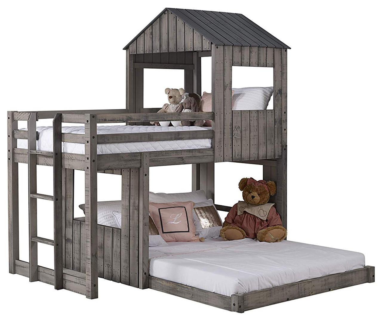 Stan Rustic Grey Twin Over Full Tree House Loft Cb Furniture