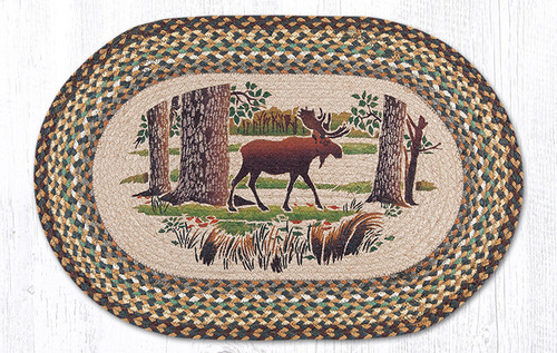 Oval Patch Rug OP 051 Moose Forest Earth Rugs