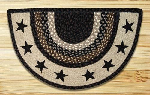 Braided Printed Rug Black Stars Slice Rug Earth Rugs   Half Moon Stair Carpet