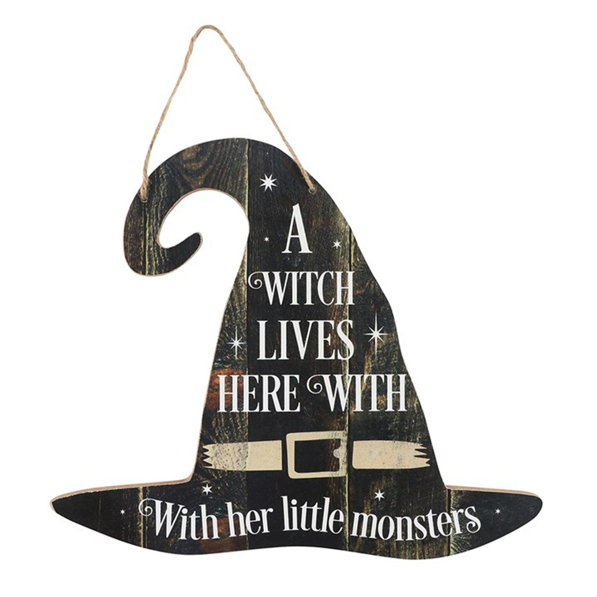 A Witch Lives Here With Her Little Monsters Mdf Witches Hat Hanging Sign Cerys Closet