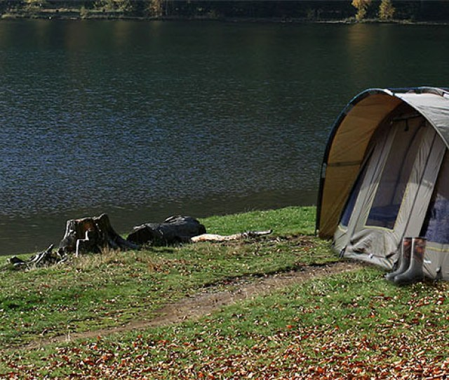 Global Outdoors Tent By A Lake