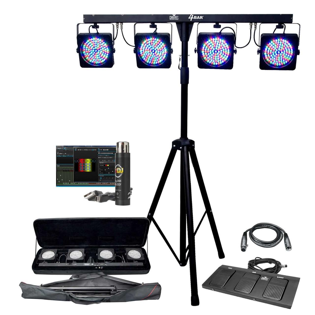chauvet dj lighting package pkg ch 058 4bar led stage wash light system adj mydmx buddy package