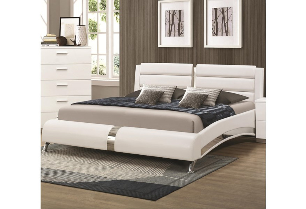 The Felicity White Upholstered Bed Miami Direct Furniture