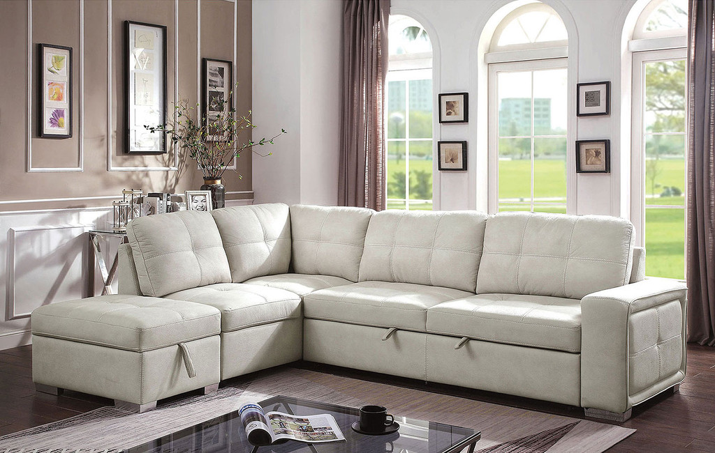 the risca beige pull out sleeper sectional w storage ottoman