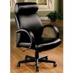 High Back Executive Office Chair In Black Leather Miami Direct Furniture
