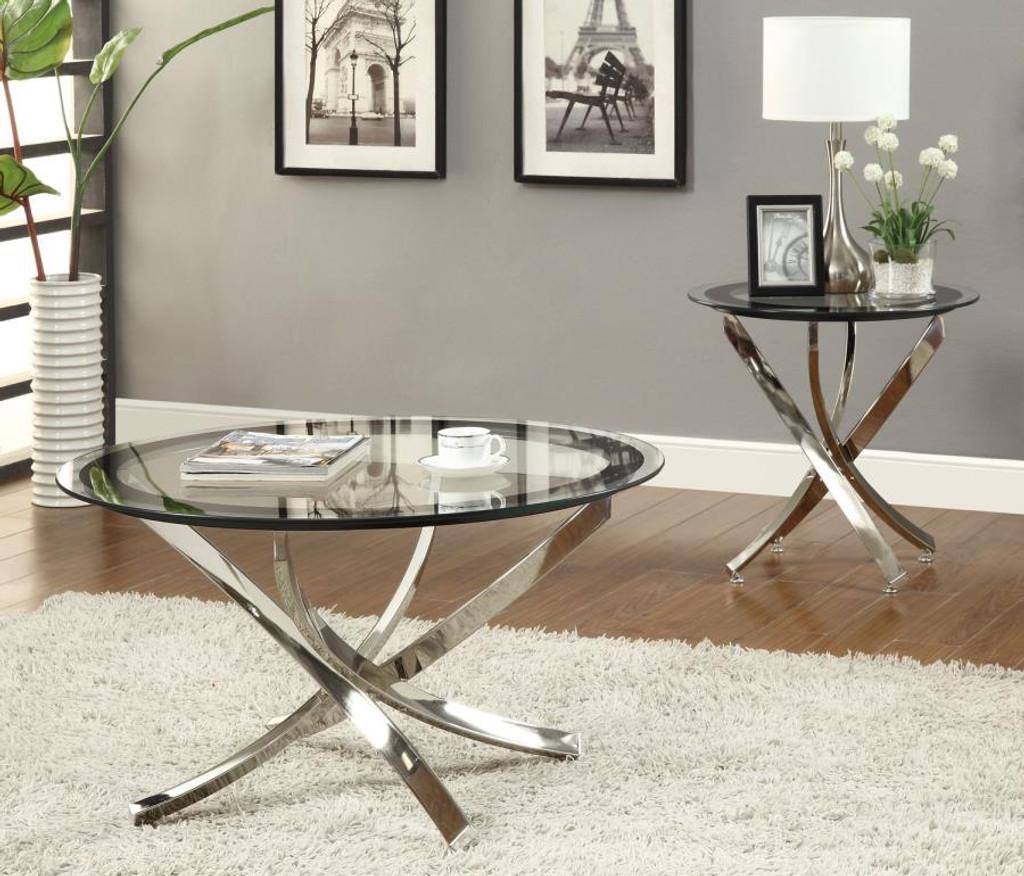 3pc marlo glass top table set