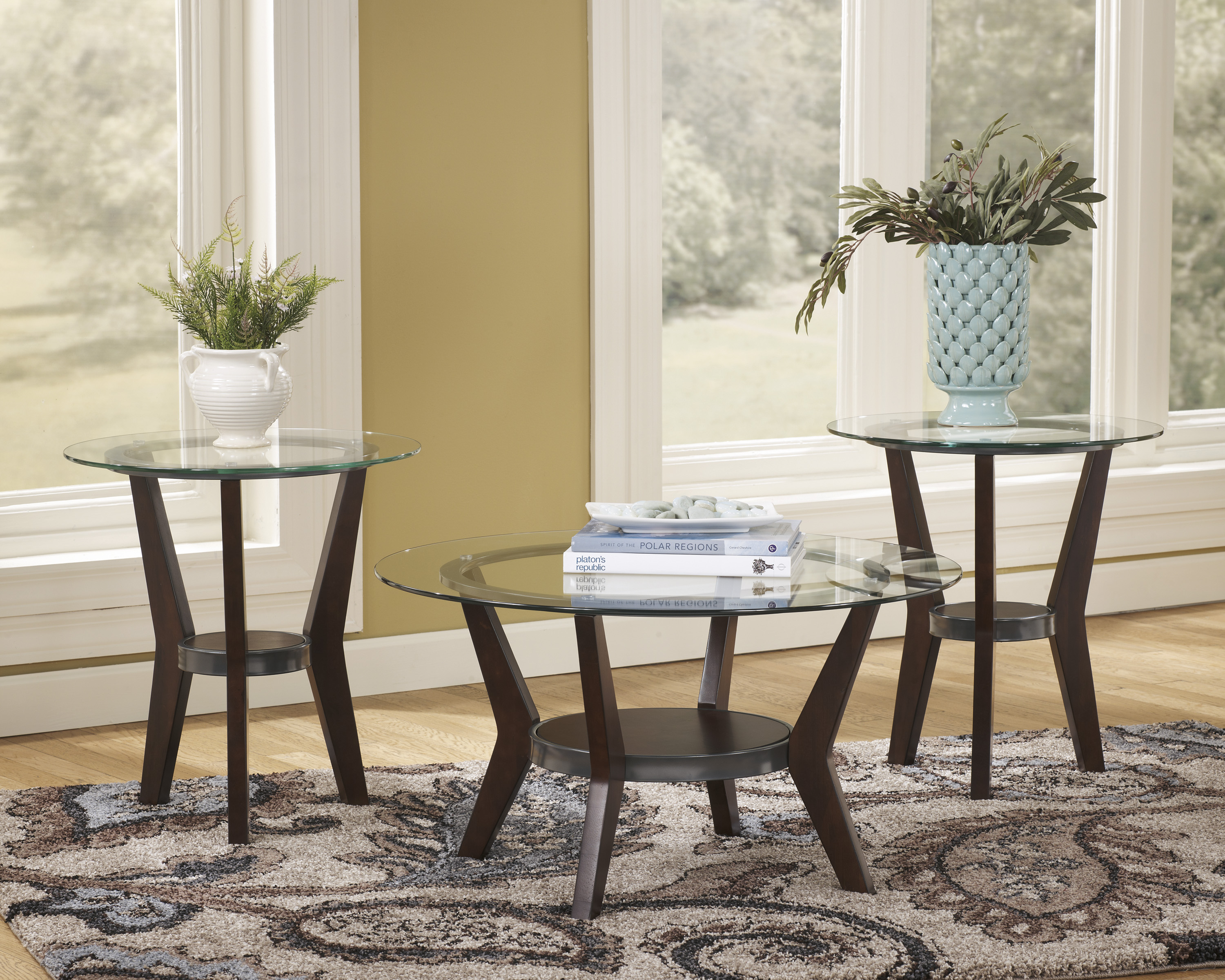 the fantell glass top coffee table set