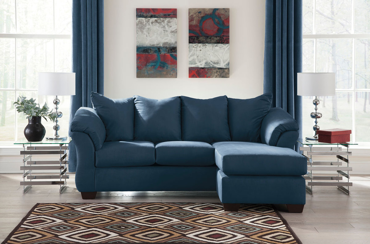 ashley darcy blue sofa couch chaise