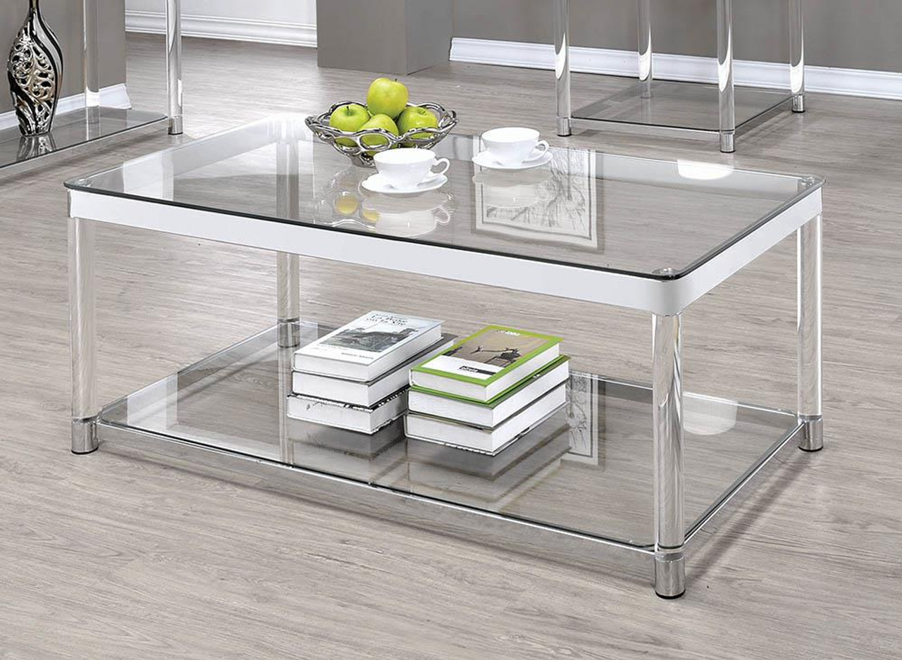 living room glass top occasional tables claude coffee table with lower shelf chrome and clear 720748