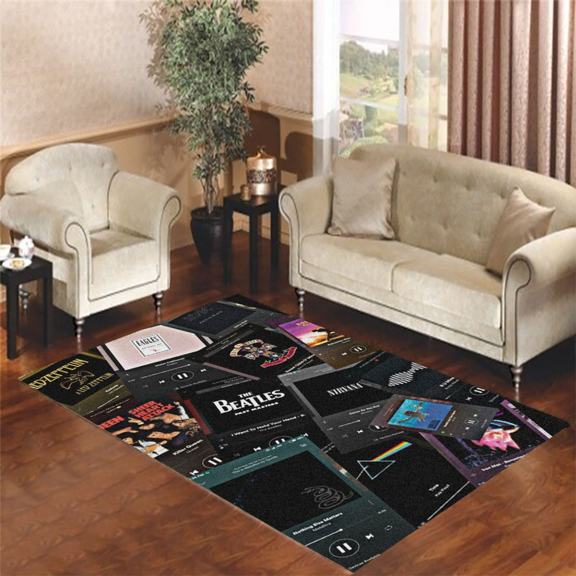 Aesthetic 80s Rock Metal Living Room Carpet Rugs Coverszy