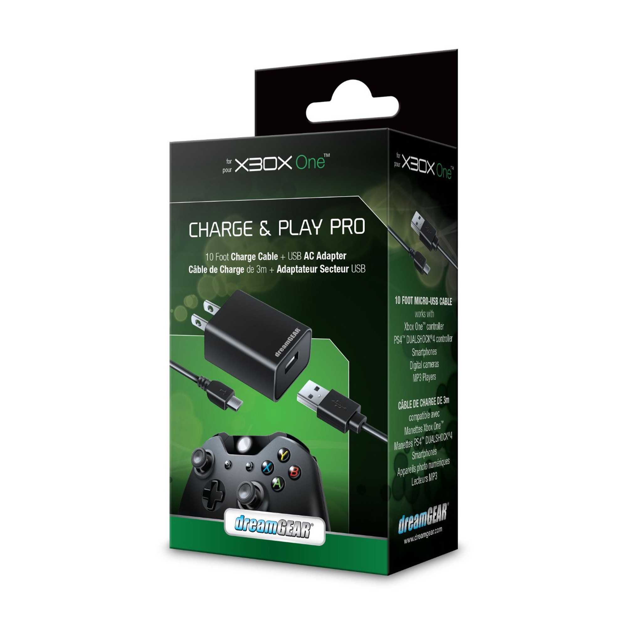 dreamgear charge play pro for xbox one with 10 ft micro usb cable for xbox one