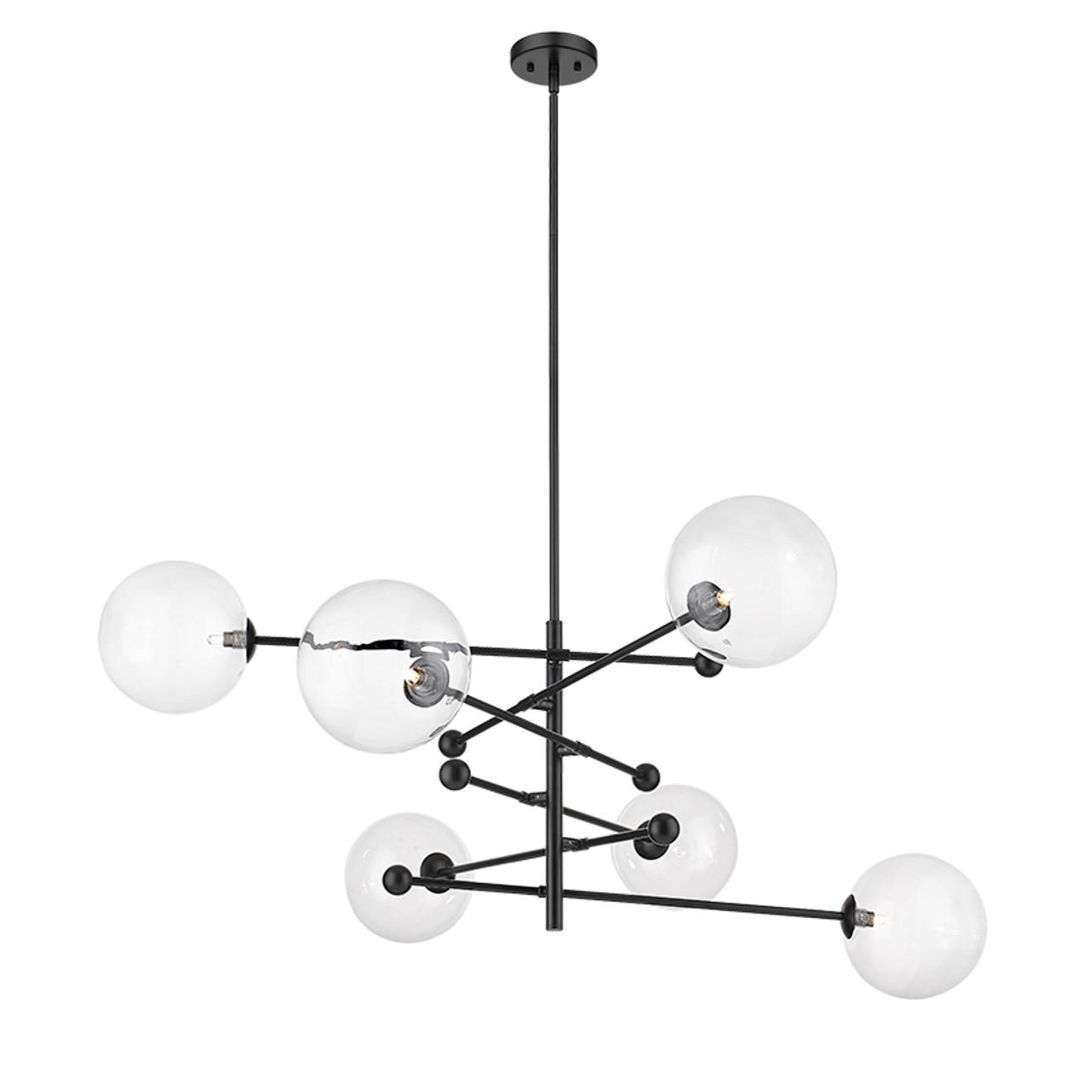 new york 6 light black modern pendant by mirage lighting