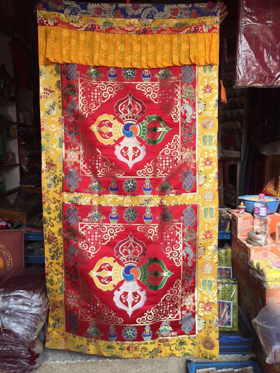 tibetan buddhism silk brocade double dorje cross vajra door hanging door curtain door cover