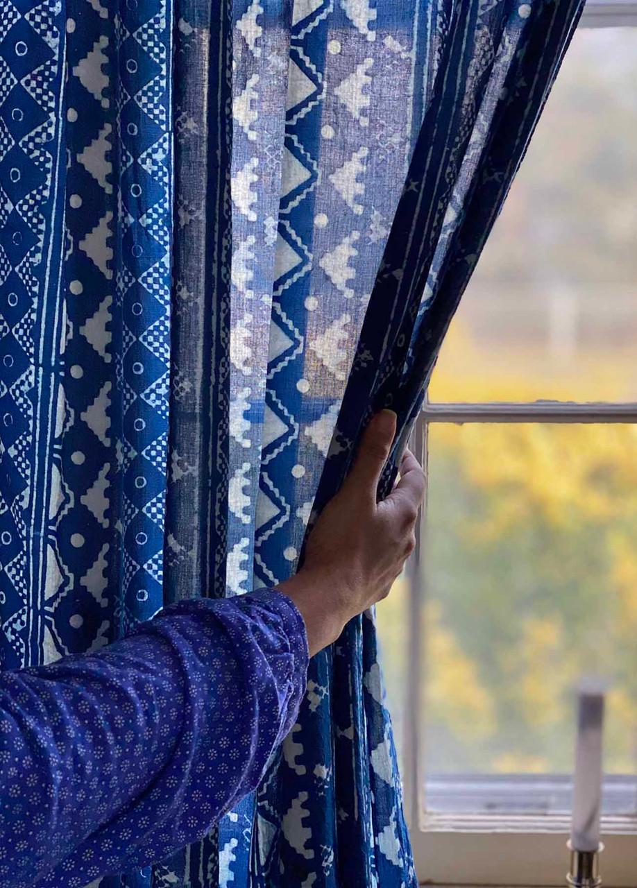 phulkari indigo curtains