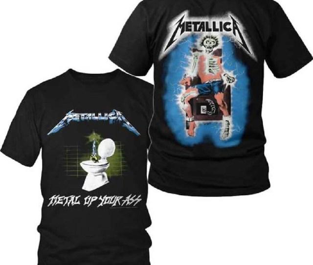 Metallica T Shirt Metal Up Your Ass Album Cover Art W Electrocuted Skeleton Logo Mens Black Shirt