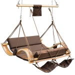 Lazy Daze Hammocks Deluxe Oversized Double Hanging Rope Chair Cotton Padded Swing Chair Wood Arc Hammock