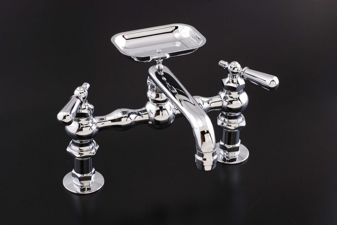 deck mount kitchen faucet with soap dish spout