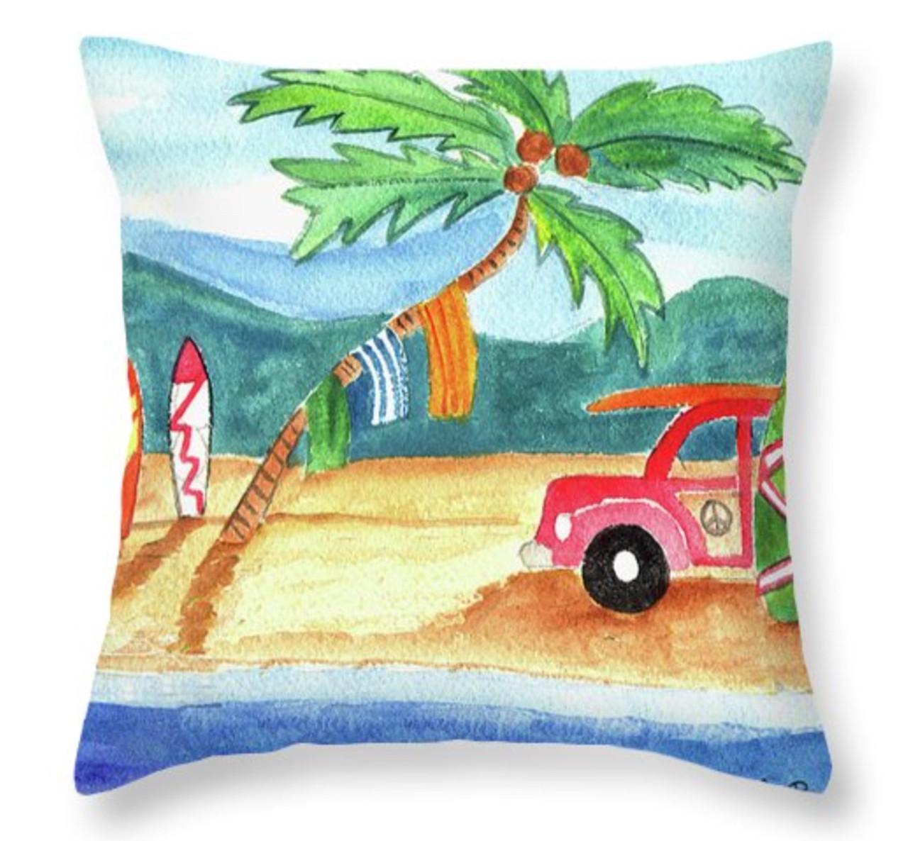 beach bum surfboard palm tree throw pillow 14 x 14
