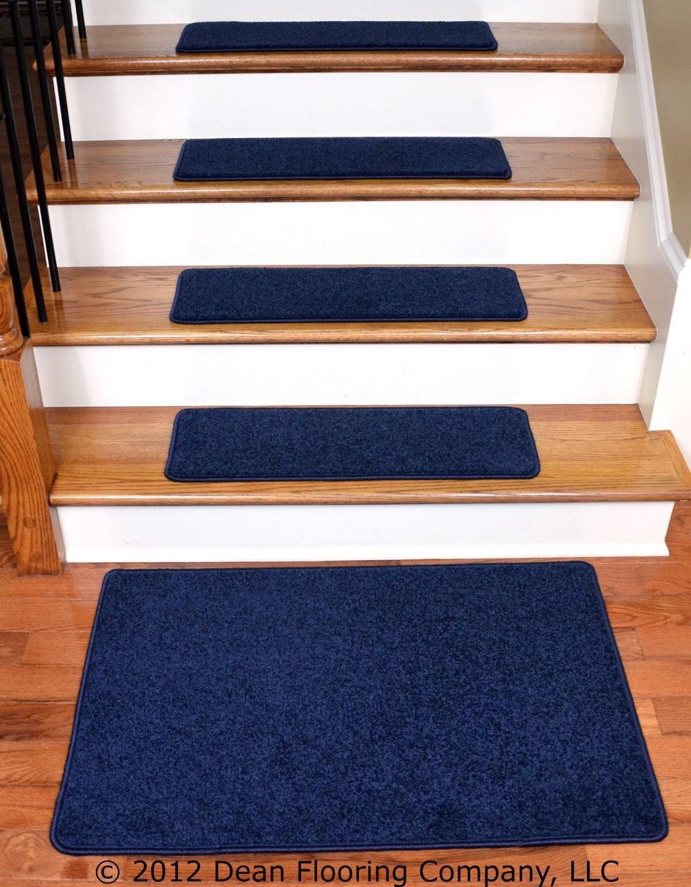 Dean Carpet Stair Treads 27 X 9 Navy Blue Plush 13 Plus A 2   Navy Blue Stair Treads   Wayfair   Non Slip   Longshore Tides   Rug Stair   Stair Runners