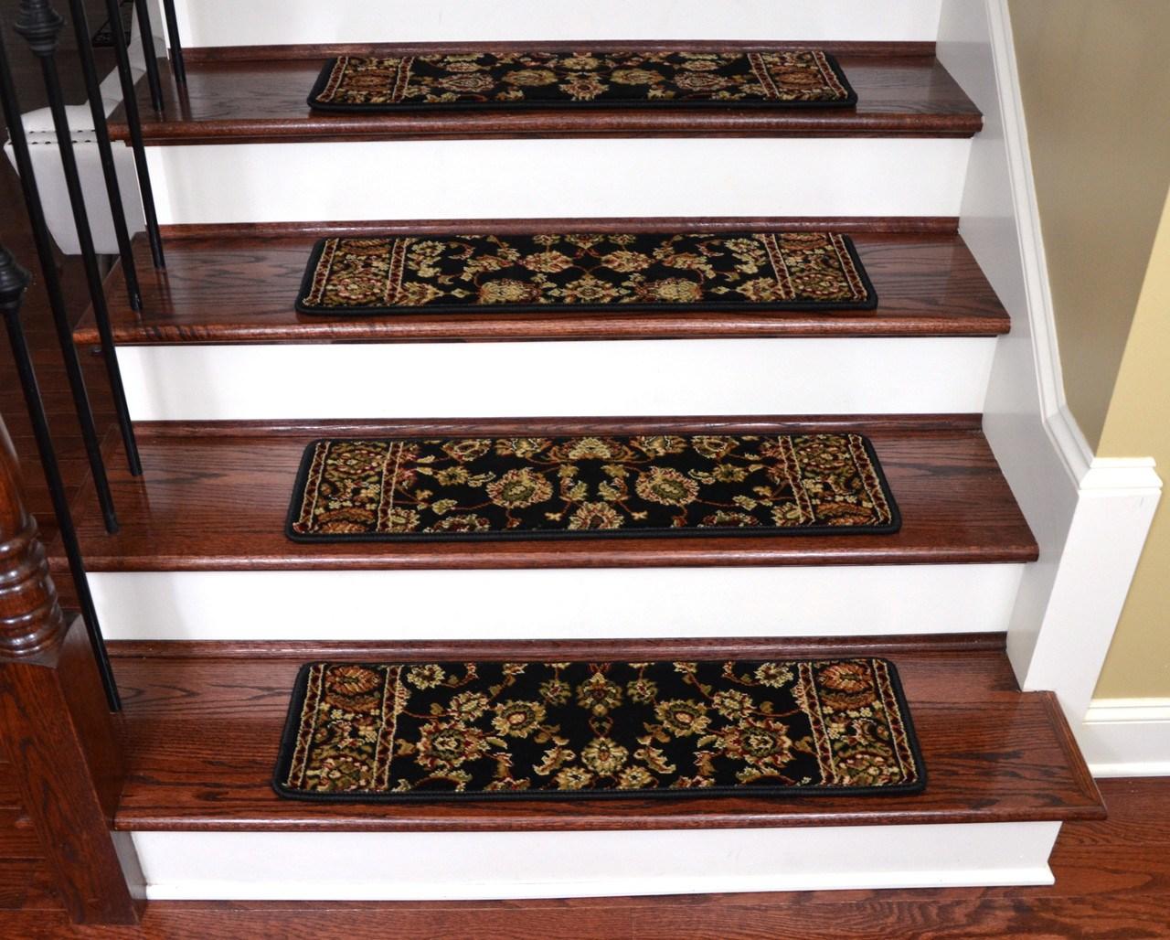 Keshan Ebony Non Slip Carpet Stair Treads 31 X 9 | Dean Carpet Stair Treads | Pet Friendly | Gripper Tape | Friendly Diy | Rug | Modern Diy