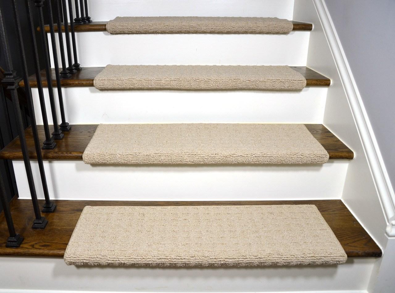 Dean Quadrille Aged Linen Tape Free Bullnose Carpet Stair Treads   Carpet Stair Treads Only   Wood   Hardwood   Stair Runner   Non Slip   Hardwood Floors