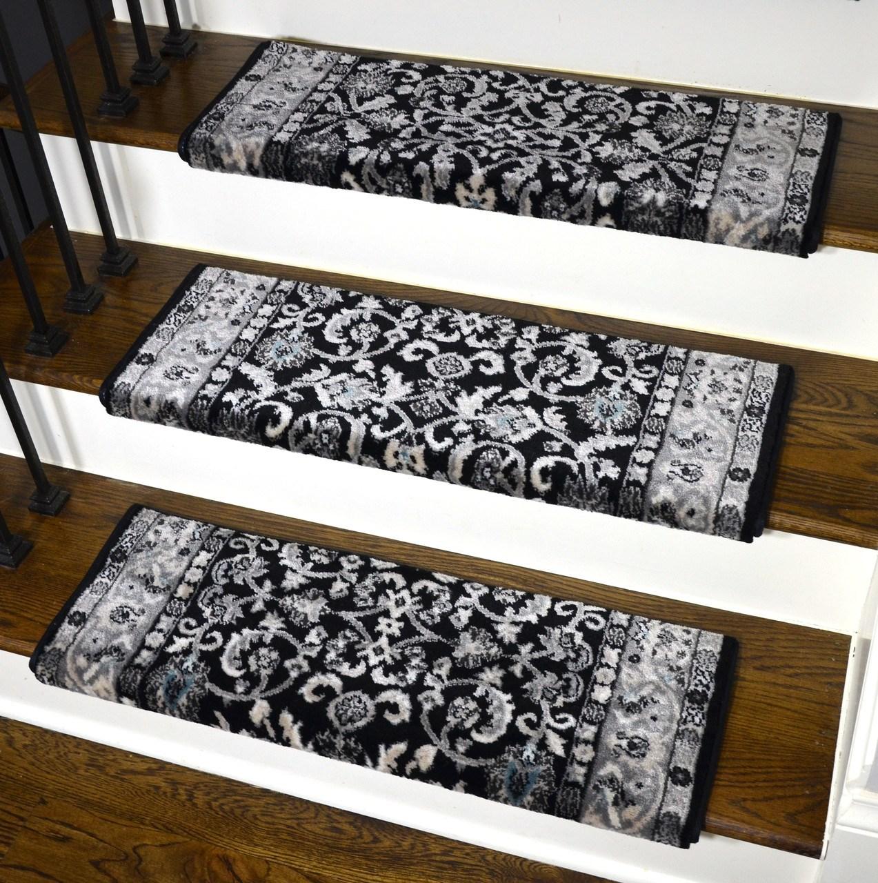 Dean Stratford Keshan Black Bullnose Carpet Stair Treads | Carpet On Tread Only | Wood Stairs | Risers | Stair Tread | Hardwood | Staircase
