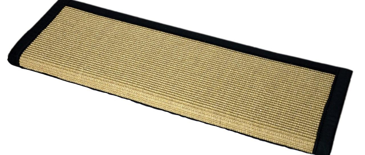 Island Sand And Black Sisal Bullnose Carpet Stair Treads | Sisal Carpet Stair Treads | Oak Valley | Skid Sisal | Stair Runner | Fiber Sisal | Landing Mat