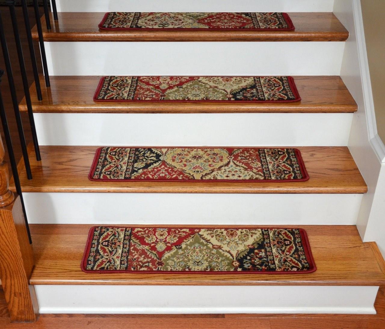 Dean Premium Carpet Stair Treads Panel Kerman Claret 31 W Set Of | Floral Carpet For Stairs | Modern | Brown Pattern | Pattern | Laminate | Diamond Pattern