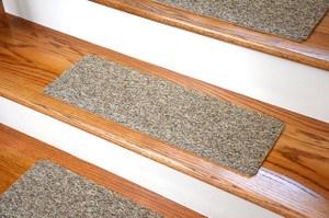 Non Skid Carpet Stair Treads Dean Flooring Company | Wedge Shaped Carpet Stair Treads | Beige | Spiral Stairs | Wood | Adhesive Carpet | Flooring