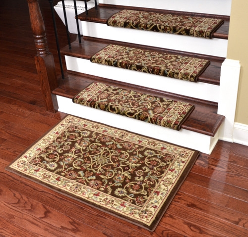 Dean Non Slip Tape Free Pet Friendly Stair Gripper Bullnose Carpet   Non Slip Strips For Carpeted Stairs   Grip   Stair Nosing   Gravel   Slip Resistant   Brown Cinnamon