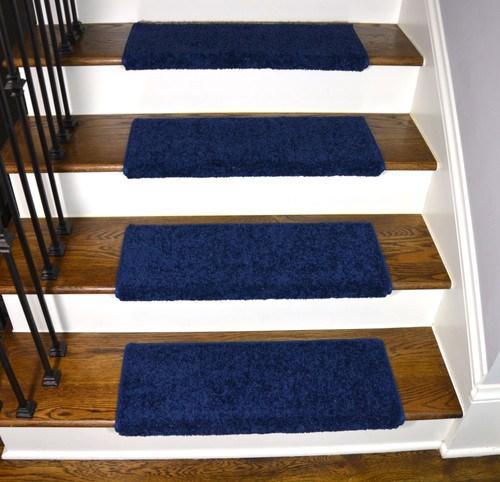 Navy Blue Bullnose Stair Treads   Navy Blue Stair Treads   Wayfair   Non Slip   Longshore Tides   Rug Stair   Stair Runners
