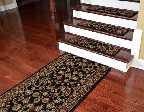 Dean Premium Carpet Stair Treads Elegant Keshan Ebony 31 X 9 | Dean Premium Carpet Stair Treads | Keshan Chocolate | Classic Keshan | Gripper Tape | Friendly Diy | Nylon Carpet